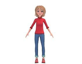 Cartoon Cute Mother Woman 3D model