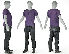 Male Casual Outfit 14 Tshirt Pants Shoes 3D asset