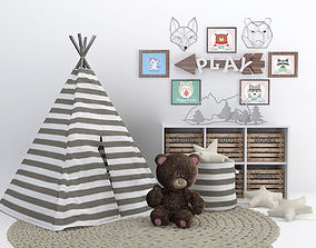Tent for child room with decoration 3D