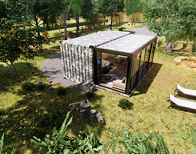 folding container house 3d model realtime