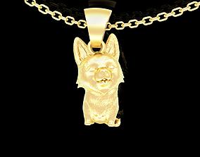 3D printable model Funny Corgi Dog Pendant jewelry Gold