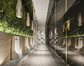 3D model Modern luxury marble public green wall toilet and