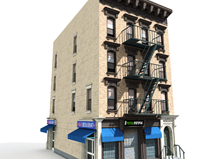 Nyc Building 05 type 1 3D asset low-poly