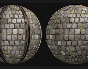 3D model COBBLESTONE RAILWAY PBR SEAMLESS GROUND TEXTURE