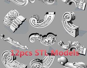 European style wood sofa leg carved STL model S049