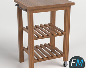 3D Wooden trolley cart