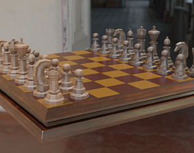 realtime Chess Board Low Poly 3D Model