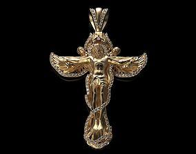 Jesus Cross Mens Diamond Pendant 3D printable model