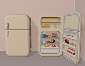 Cartoon fridge with food 3D asset