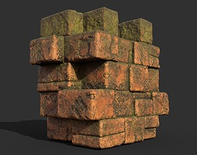 Low poly Terracotta Ruin Medieval Construction 02 3D model