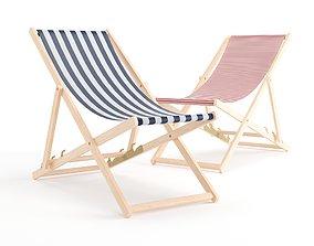 3D model beach wood Deck Chair