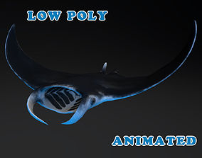 animated Low Poly Manta 3D Model - Animated