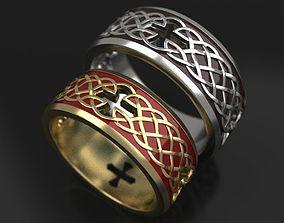 3D printable model Celtic cross wedding rings - original