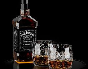 3D model alcohol Whiskey Set