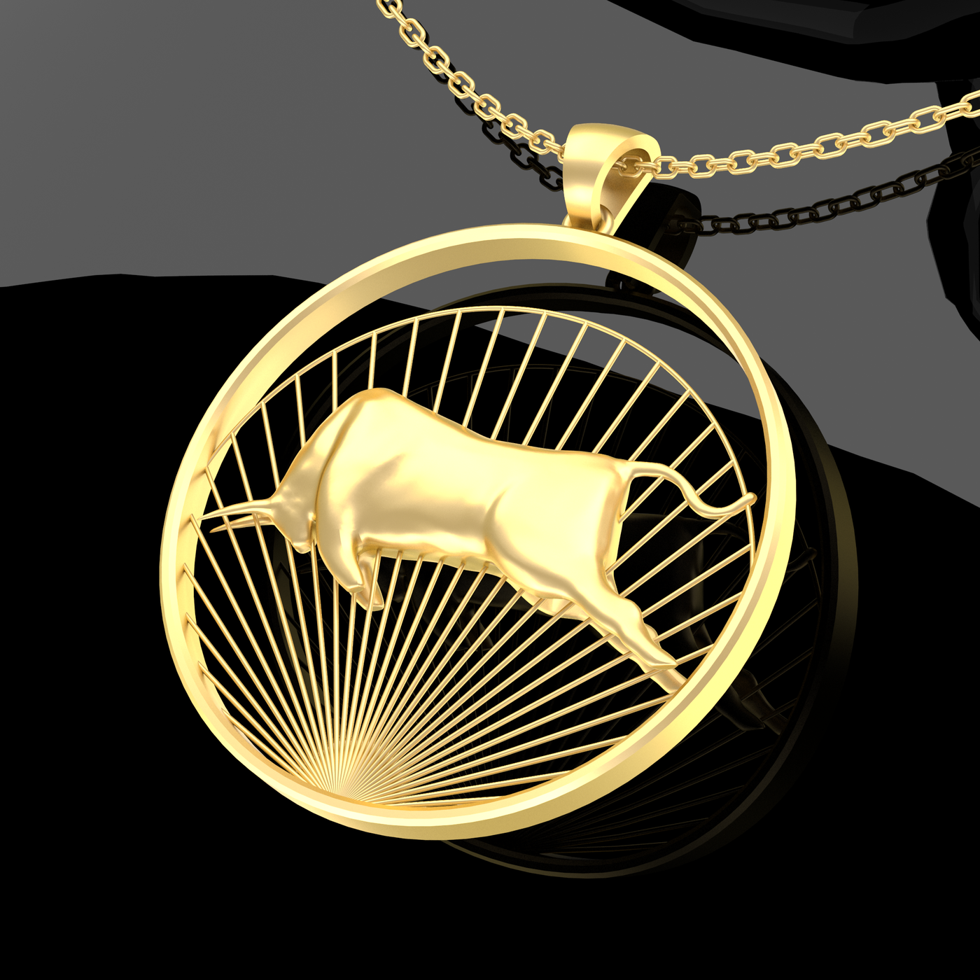 Matador Bull Pendant Jewelry Gold 3D Print Model