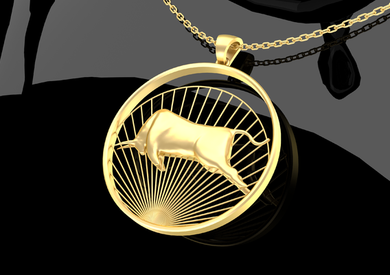 Matador Bull Pendant Jewelry Gold 3D Print Model
