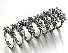 7 size 5 stone rings 3D printable model