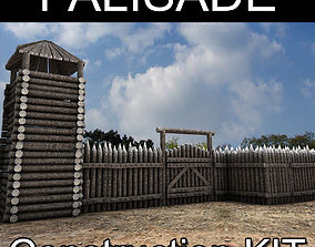 3D asset Lowpoly Palisade Construction kit