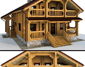 3D Log house - rounded log