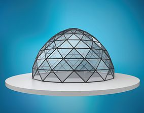 Dome pointed hexagonal triangulated structure 3D asset 2