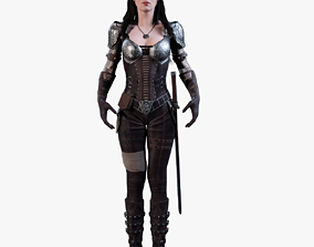 3D Warrior Female model rigged