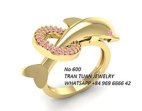 600 Gold Dolphin Ring 3D print model