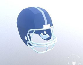 Football Helmet Low Poly 3D asset realtime