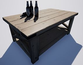 Wooden Coffee Table 3D model low-poly