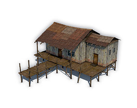 3D asset game-ready Wooden house