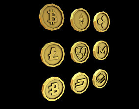 Crypto Coins Lowpoly 3D asset