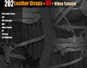 3D model 202 IMM Brush Leather Straps Vol 02 and UV and 1
