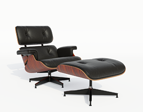 Eames lounge chair with ottoman 3D asset game-ready