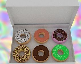 Donuts in a box 3D asset