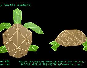 Low poly turtle symbols 3D model