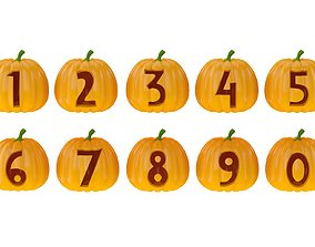 3D model Halloween Pumpkin Numbers