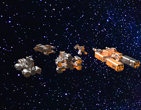 8k Deep Space Starship Pack Space Ships PBR 3D model
