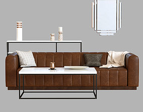 3D Forte Channeled Saddle Leather Extra Large Sofa