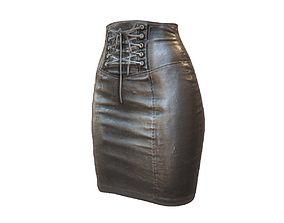 Black Leather Pencil Skirt 3D model