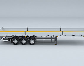 Flatbed Trailer For Semi Truck Low-poly model -3D Printer