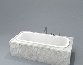3D asset bath fitted inset with marble surround