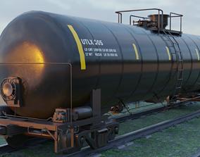 3D asset Railway Tank Car - Railroad - Train Tank Wagon
