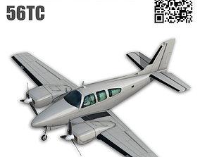 3D asset rigged Beechcraft 56TC Baron