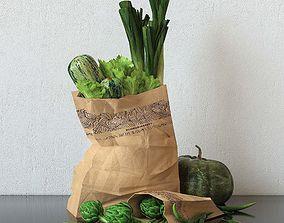 green veggies in packet render ready vray 3D model
