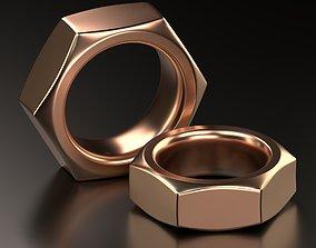 Screw Nut ring Jewelry Design wedding band 3D print model