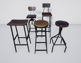 3D asset Bar Stool Pack
