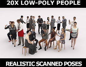 3D model 20x LOW POLY ELEGANT BUSINESS CASUAL CAFE PEOPLE
