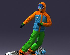 3D Man in a bright suit on a snowboard 0292