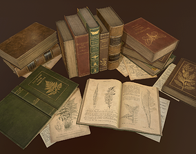 3D model Old Books set - PBR Game Ready