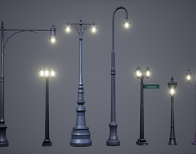 Streets Lamps Low Poly Game Ready 3D model