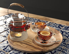 Arabic tea set 3D model